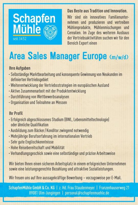 Area Sales Manager Europe
